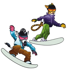 Savannah animals on snowboard vector