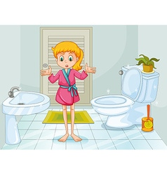 Girl standing in clean bathroom vector