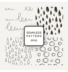 Set of seamless patterns with scribbles and vector
