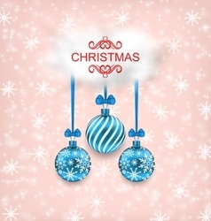 Christmas elegance card with balls and cloud vector