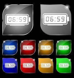 Alarm clock icon sign set of ten colorful buttons vector