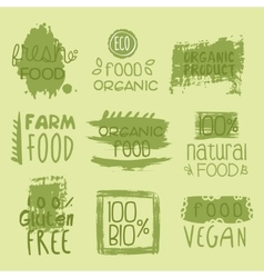 Bio food lables set vector