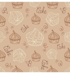 Hand drawn seamless with set of cakes vector