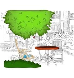 Cafe in the Garden Partially colored version vector image