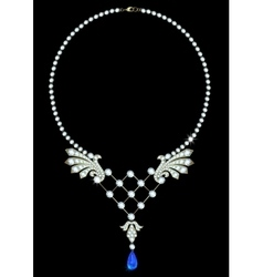 Necklace with sapphire vector