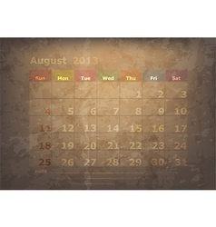 antique calendar of August vector image