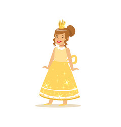 beautifull little girl princess in a gold ball vector image vector image