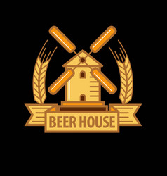 Beer house logo with windmill vector