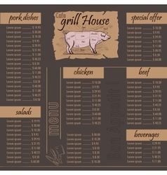 Cafe menu grill template vector