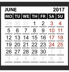 calendar sheet June 2017 vector image