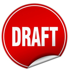 Draft round red sticker isolated on white vector