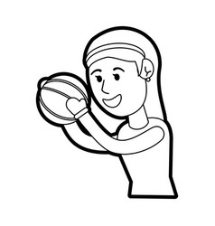 Girl doing basketball sport vector