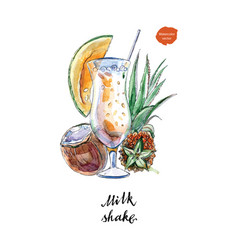 glass of milk shake with straw and coconut vector image vector image