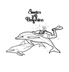 Graphic scuba diver riding the dolphin vector image
