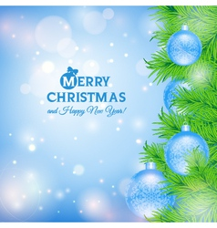 Greeting card with Christmas tree and blue balls vector image