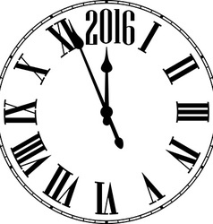 Happy 2016 year vintage clock vector