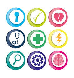 Healthy icons to care mentality human vector