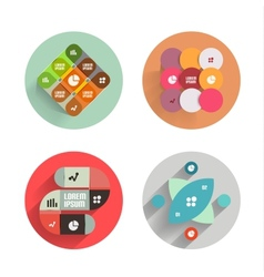 Infographic inside colorful circles Flat icon set vector image vector image