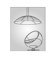 Interior design- egg chair with lighting vector image vector image