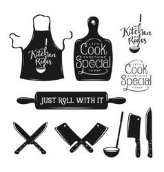 Kitchen related typography set Quotes about vector image