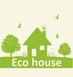 Landscape with green tree and house vector