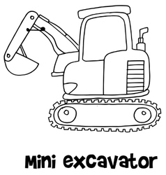 Mini excavator hand draw vector