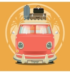Minibus with suitcases and palm trees vector