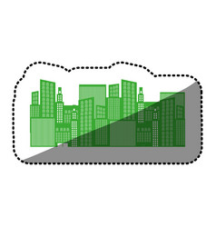 Monochrome background sticker with city buildings vector
