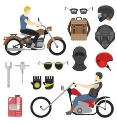 motorcyclist set iclude tools glasses helmet vector image