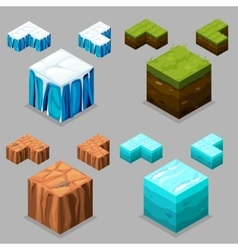 Nature isometric ice desert land and water vector