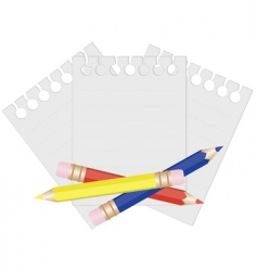 pencil and paper for notes vector image