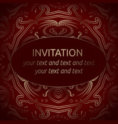 red invitation template with gold ornament vector image