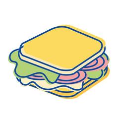 Sandwich fast food icon vector