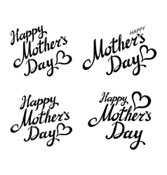 set Happy Mothers Day Greeting Card Black vector image vector image