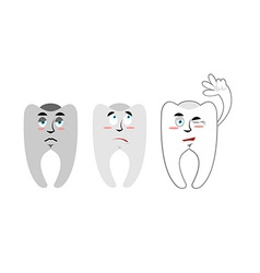 Set of teeth Teeth with emotions Rotten black vector image
