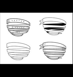 set of vintage spiral ribbons vector image vector image