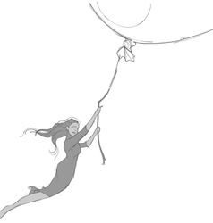 sketch of the girl flying on a big balloon vector image vector image