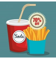 Soda with frnch fries isolated icon design vector