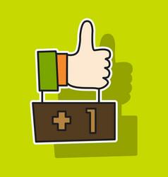 Sticker thumbs up like social network facebook vector