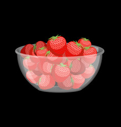 Strawberries in glass bowl berries in deep dish vector