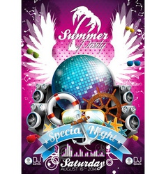 Summer Beach Party Flyer Design with disco ball vector image vector image