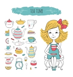 Tea collection and girl on chair vector