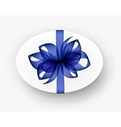 White oval gift box with transparent blue bow vector