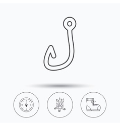 Fishing hook compass and hiking boots icons vector
