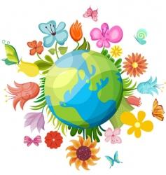 Flowering planet vector