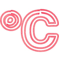 Abstract celcius symbol made with red marker vector