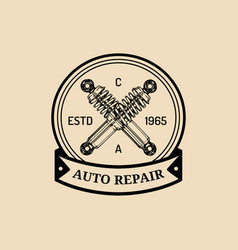 Car repair logo with shock absorber vector