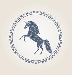 geometric unicorn icon vector image