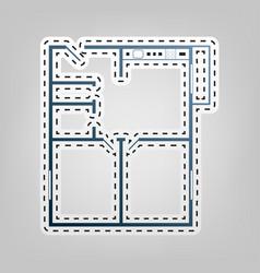 Apartment house floor plans blue icon vector