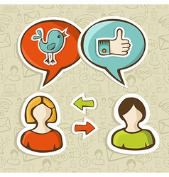 Like and twitter icons connecting people vector